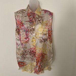 CAbi #385 Sleeveless Silk Blouse Feather Print Top